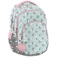 Plecak z pandą szkolny PASO miętowy dla dziewczynki