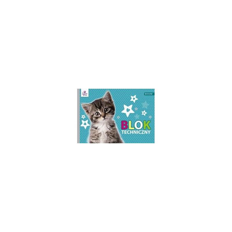 BLOK TECHNICZNY BIAŁY A4/ 10k Sweet Pets kotek