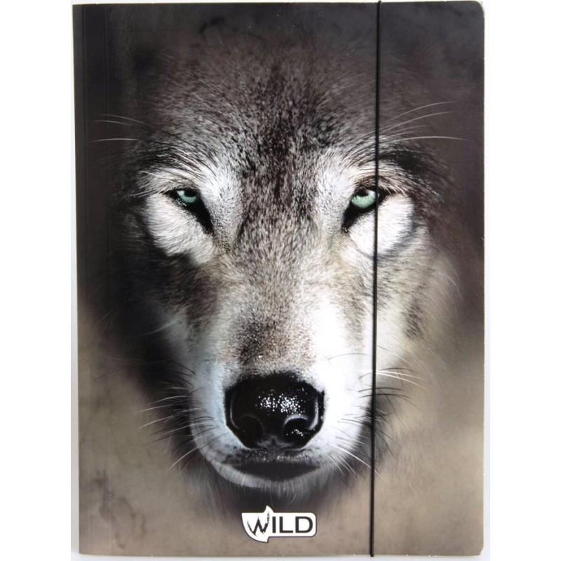 TECZKA Z GUMKĄ A4 -wilk