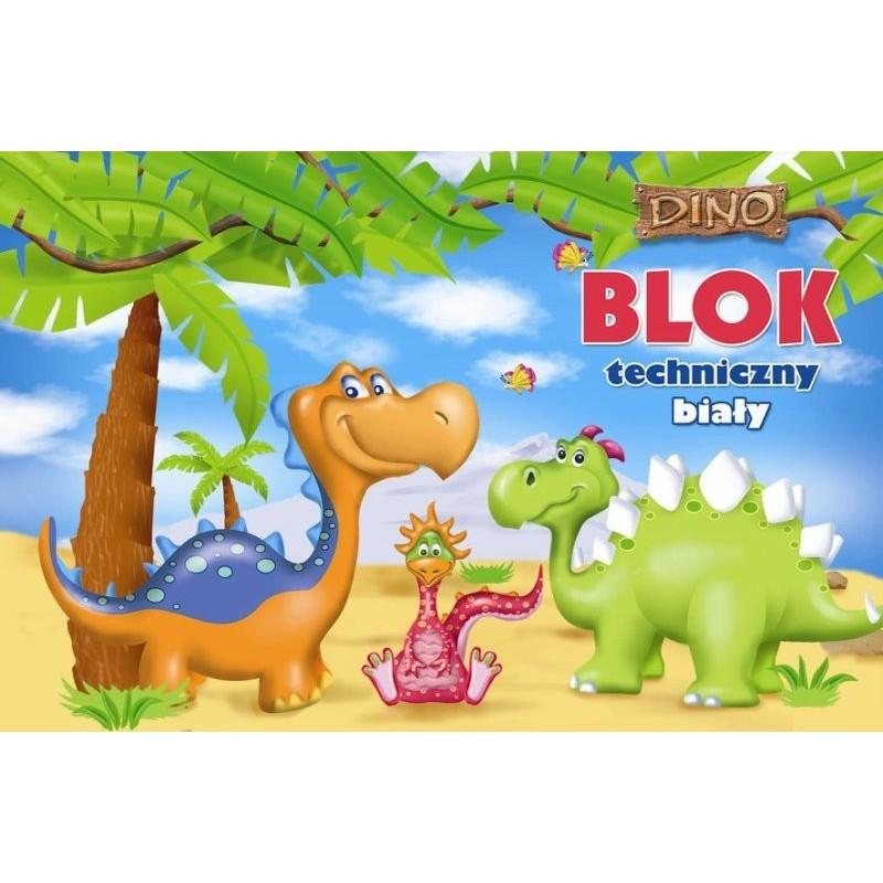 BLOK TECHNICZNY BIAŁY A4/ 10k. z szablonem - Dino