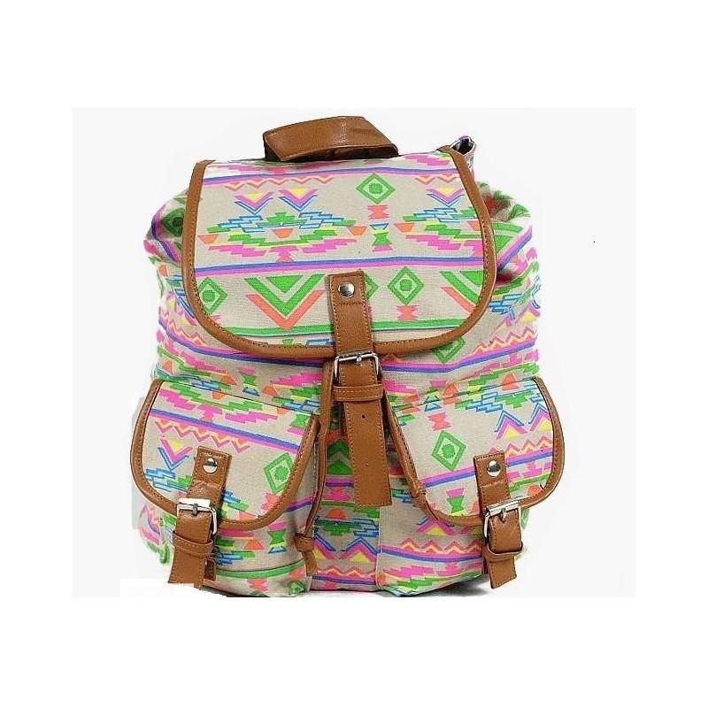 VINTAGE plecak retro - hipster indiana / pastele