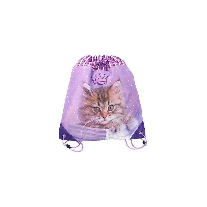 WOREK NA OBUWIE - KOT z kotem fioletowy dla dziewczyny