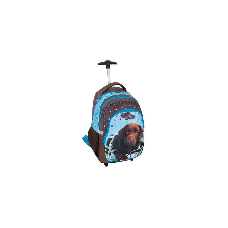PLECAK szkolny na kółkach dla dziewczyny z psem brązowo niebieski PIES - LABLADOR