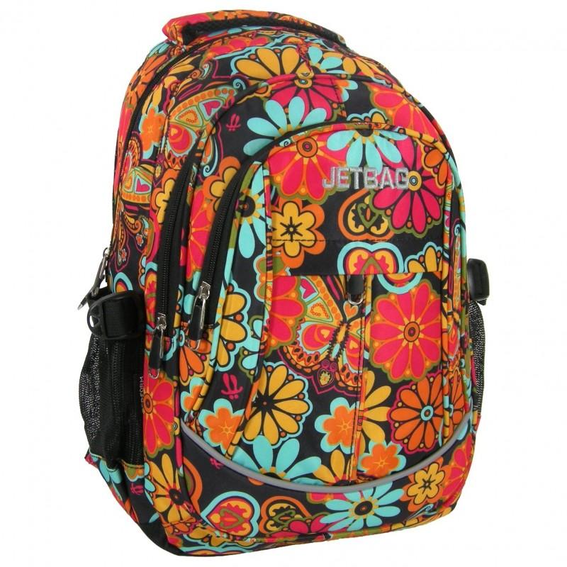 PLECAK młodzieżowy JETBAG - retro kolorowe kwiaty