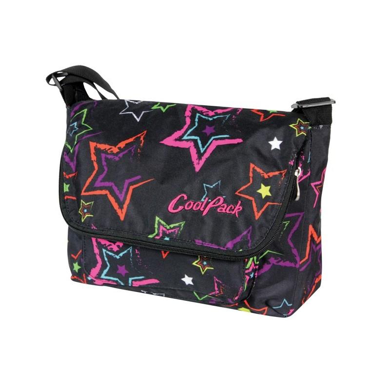 e6ead0b1ceafd miejska młodzieżowa torba na ramię czarna w kolorowe gwazdy LISTONOSZKA  COOLPACK 295