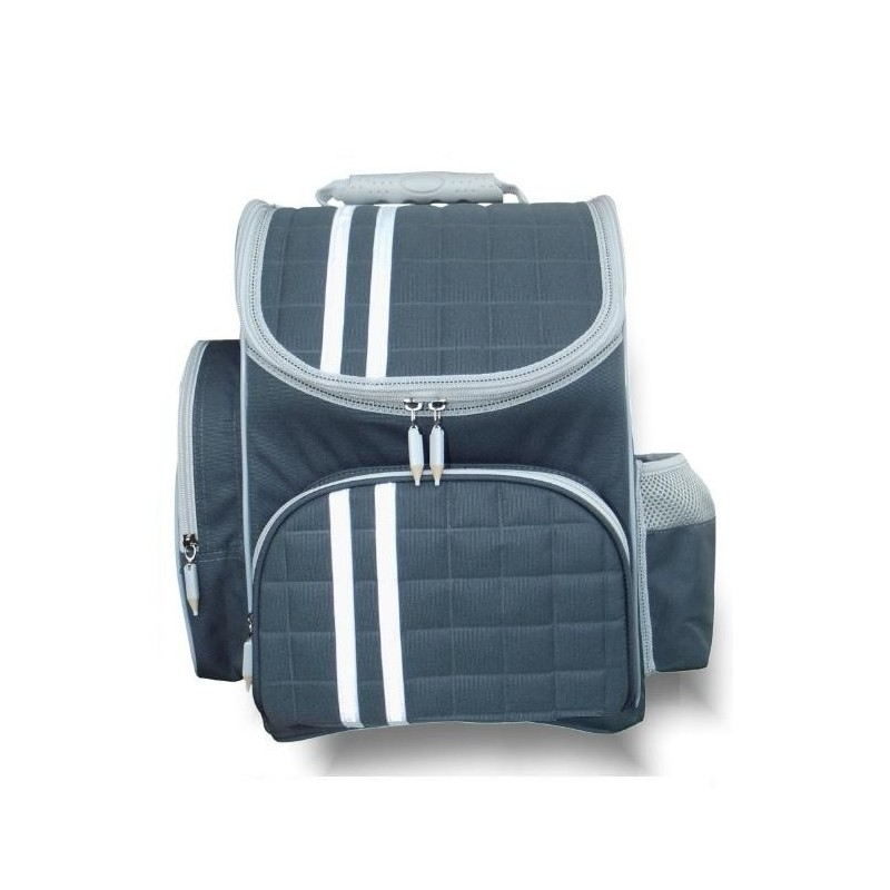 Granatowy tornister, niebieski tornister z kredkami przy zamku do 1 klasy, plecak 1 klasa
