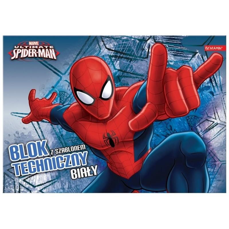 BLOK TECHNICZNY BIAŁY A4/ 10k. z szablonem - Spider-Man
