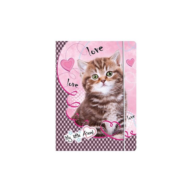 TECZKA Z GUMKĄ A4 - MY LITTLE FRIEND kotek