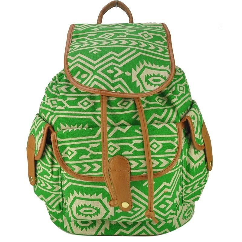 VINTAGE plecak retro - AZTEC zielony