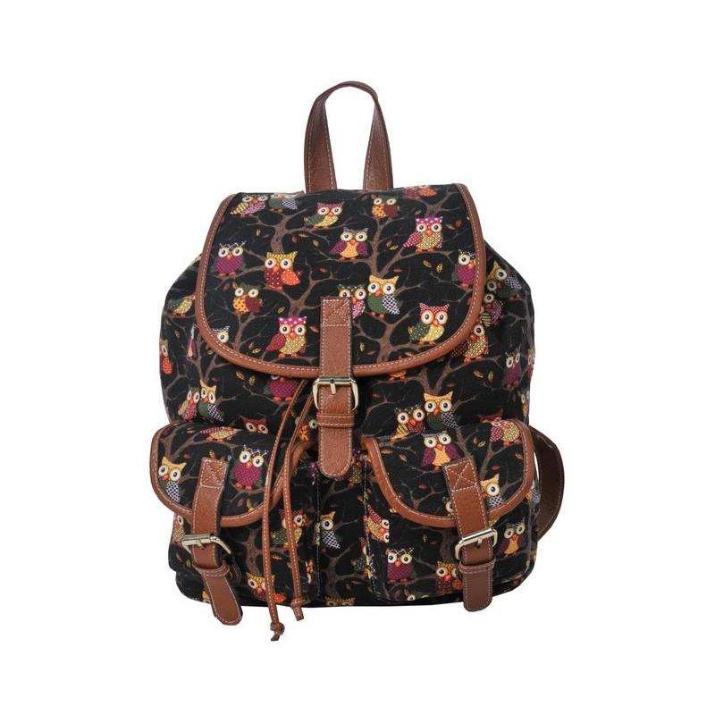 fd4727a28b07a Plecak młodzieżowy Canvas Vintage - czarny w sowy - ePlecaki do ...