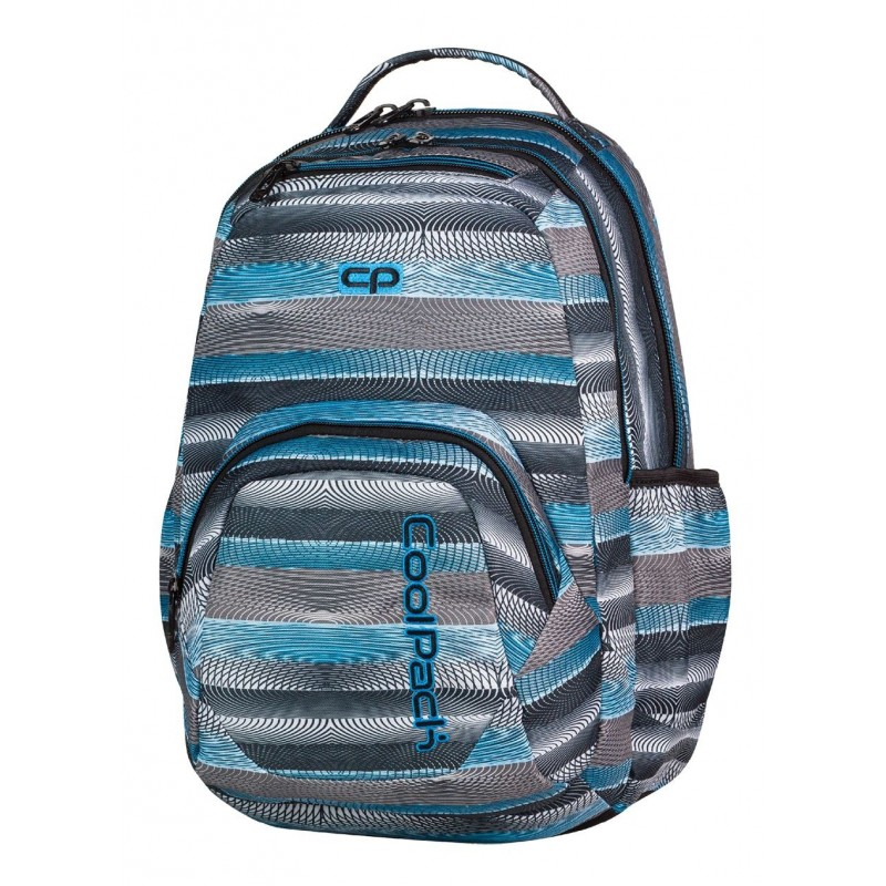 Plecak młodzieżowy COOLPACK CP w szare i niebieskie paski z deseniem w koncentryczne okręgi SMASH 400 GREY TWIST