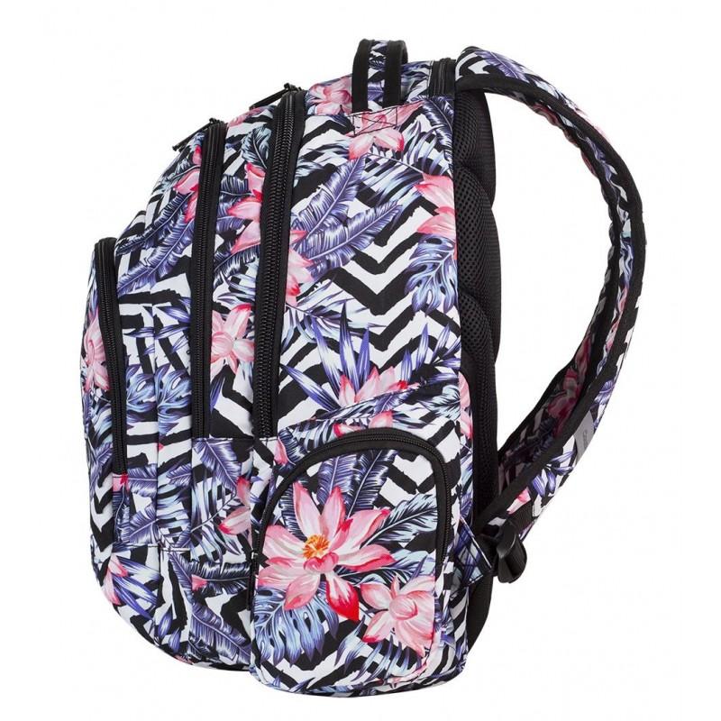 1d09ec784419c ... Plecak młodzieżowy COOLPACK CP w biało-czarne paski zebry i hawajskie  kwiatki SPARK ALOHA 559 ...