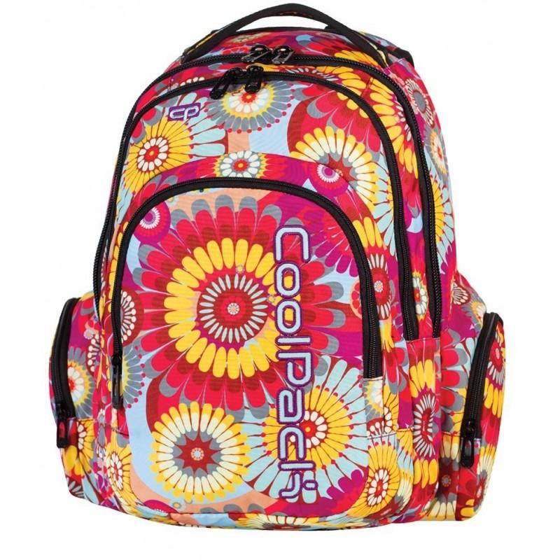 Plecak młodzieżowy COOLPACK CP w hippisowskie kwiaty - czerwone, żółte niebieskie SPARK HIPPIE 573