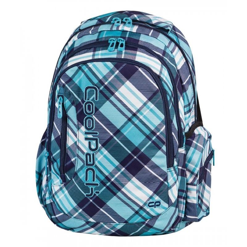 Plecak młodzieżowy COOLPACK CP turkusowy niebieski w skośną kratkę LEADER DERRICK 502