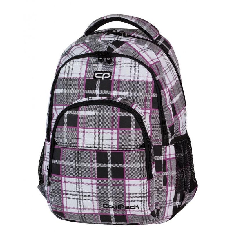 Plecak CoolPack CP czarno - biały w kratkę polo z fioletowymi wstawkami