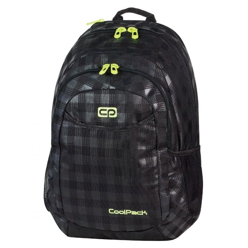 Plecak młodzieżowy na laptop CoolPack czarny w kratkę (połysk + mat) z żółtymi wstawkami URBAN BLACK & YELLOW CP 412