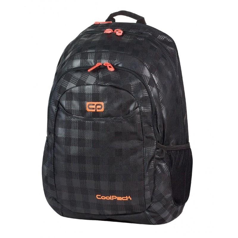 Plecak młodzieżowy CoolPack CP czarny w kratkę (połysk i matowy) z pomarańczowymi wstawkami URBAN BLACK & ORANGE 422