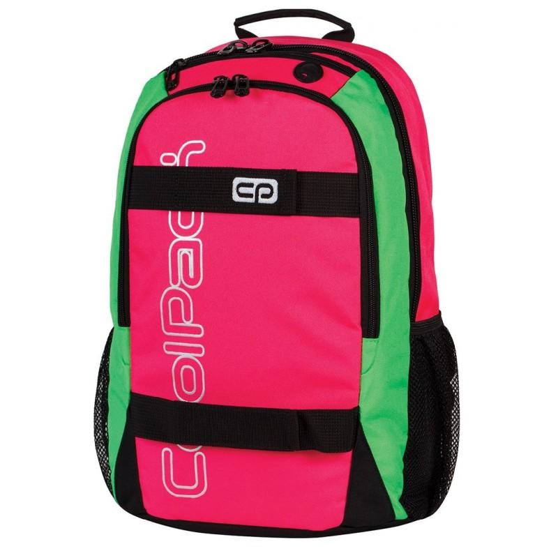 Plecak młodzieżowy CoolPack CP rubinowy, czerwony z zielonymi bokami i czarnymi zamkami ACTION RUBIN NEON 428