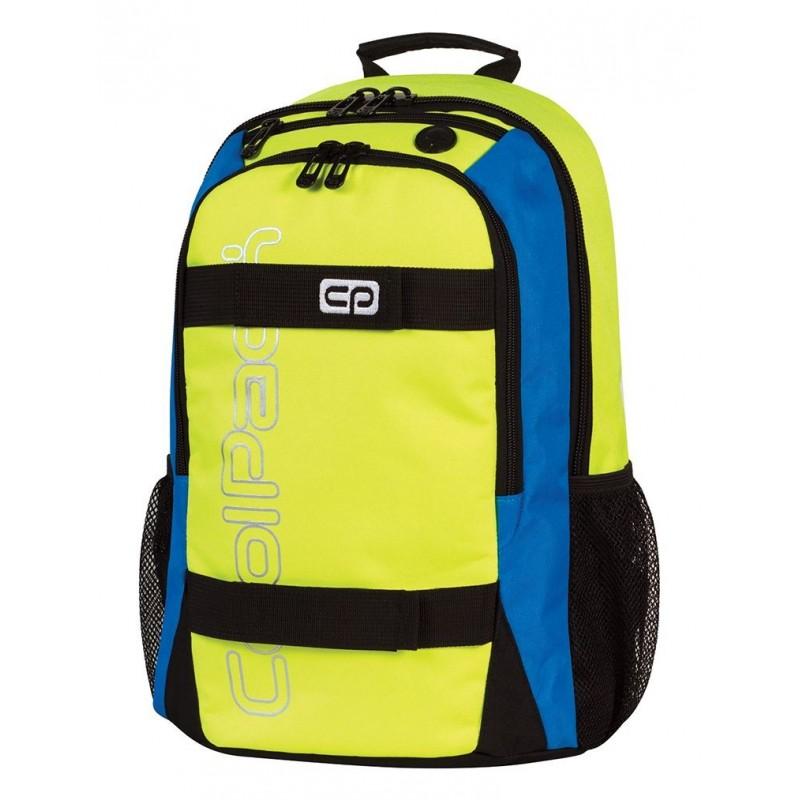 Plecak młodzieżowy CoolPack CP żółty z niebieskimi bokami i czarnymi zamkami ACTION YELLOW NEON 432