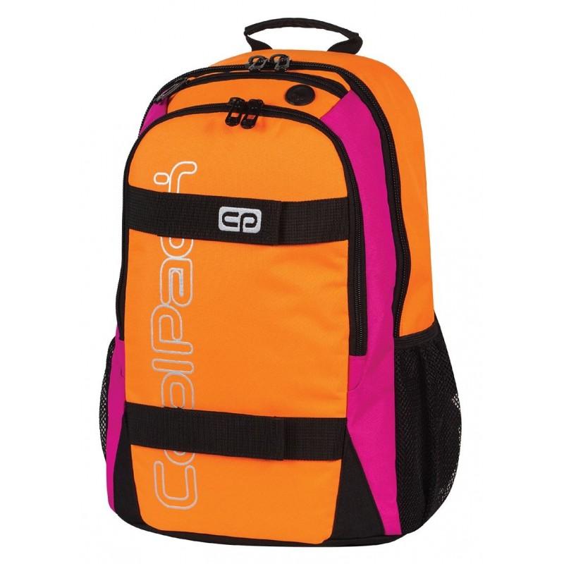 Plecak młodzieżowy CoolPack CP pomarańczowy z różowymi bokami i czarnymi zamkami ACTION ORANGE NEON 430