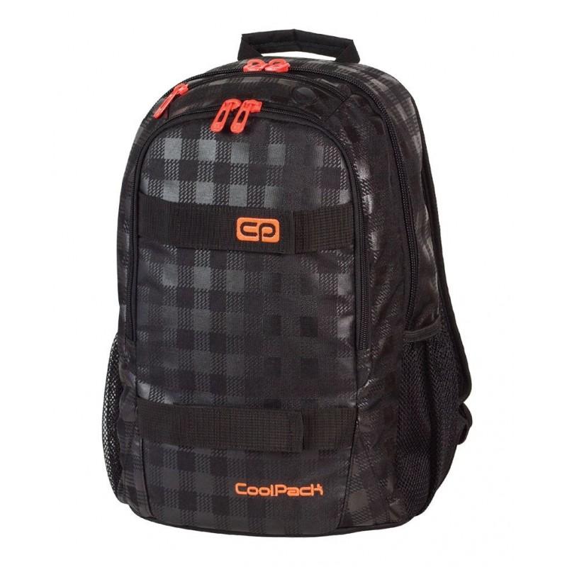 Plecak młodzieżowy CoolPack CP czarny w kratkę z pomarańczowymi wstawkami ACTION BLACK & ORANGE 423