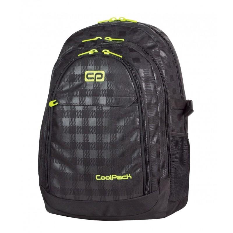 Plecak młodzieżowy CoolPack CP duży czarny w kratkę (połysk i mat) + żółte wstawki - 3 przegrody GRAND BLACK & YELLOW 415