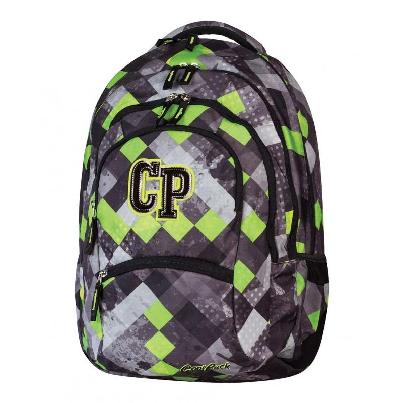 Plecak szkolny CoolPack CP w zielono szarą kratkę - 5 przegród COLLEGE GRUNGE GREY 455