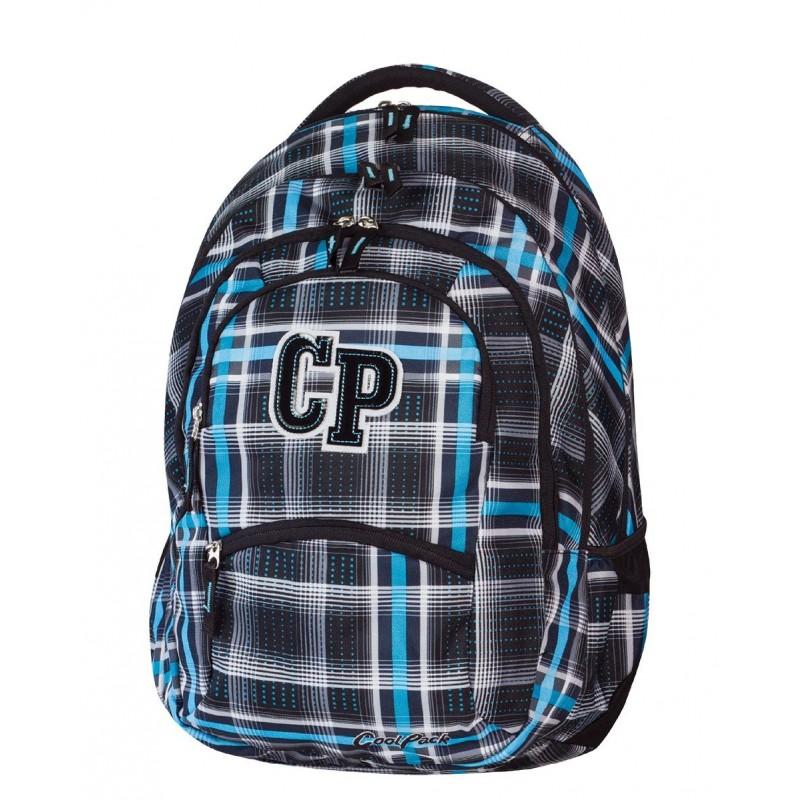 Plecak szkolny CoolPack CP czarno niebieski w kratkę - 5 przegród COLLEGE SPORTY 448