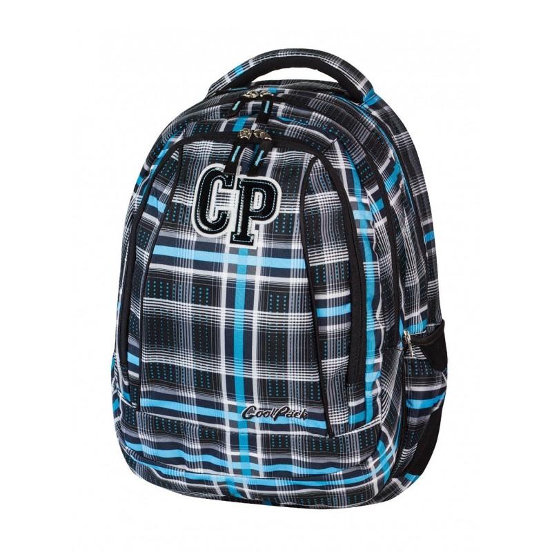 Plecak szkolny CoolPack CP czarno niebieski w kratkę - 2 w 1 COMBO SPORTY 451