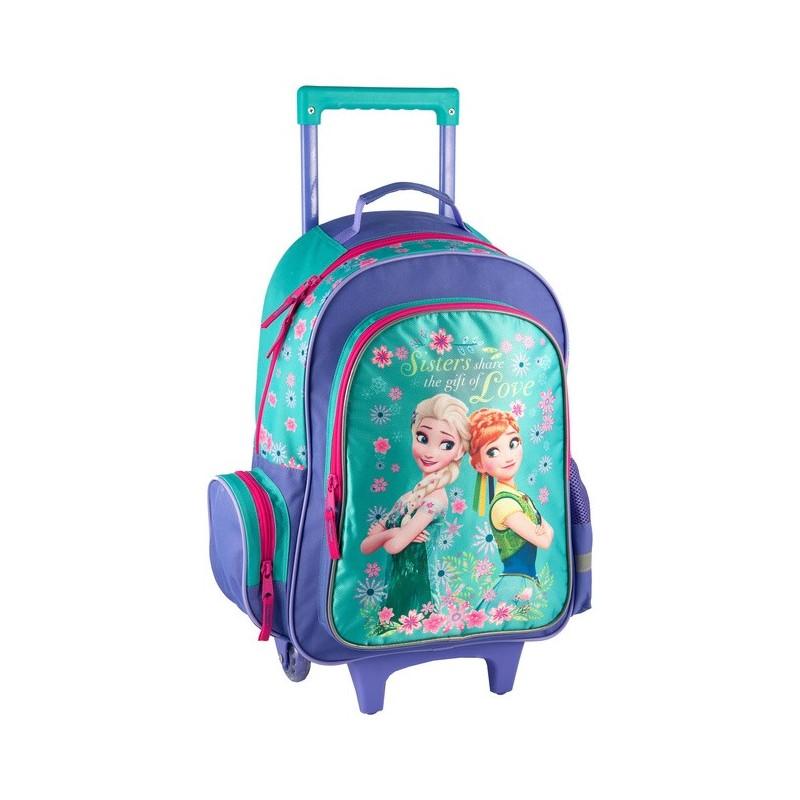 Plecak na kółkach Frozen z Anną i Elzą - granatowy i seledynowy w kwiatki