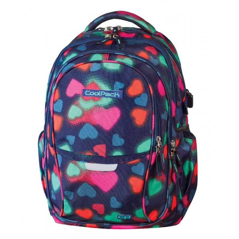 Plecak młodzieżowy CoolPack CP - 4 przegrody - granatowy w kolorowe serca FACTOR HEARTS 440