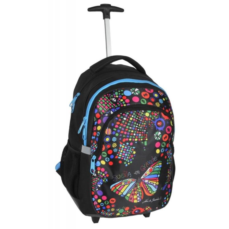 Plecak na kółkach Dream Big - czarny z kolorowym motylem