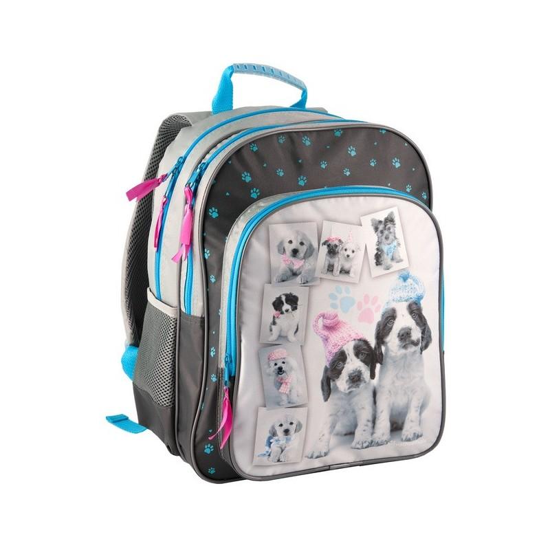 Plecak szkolny z psami - czarno-szary z niebieskimi zamkami.