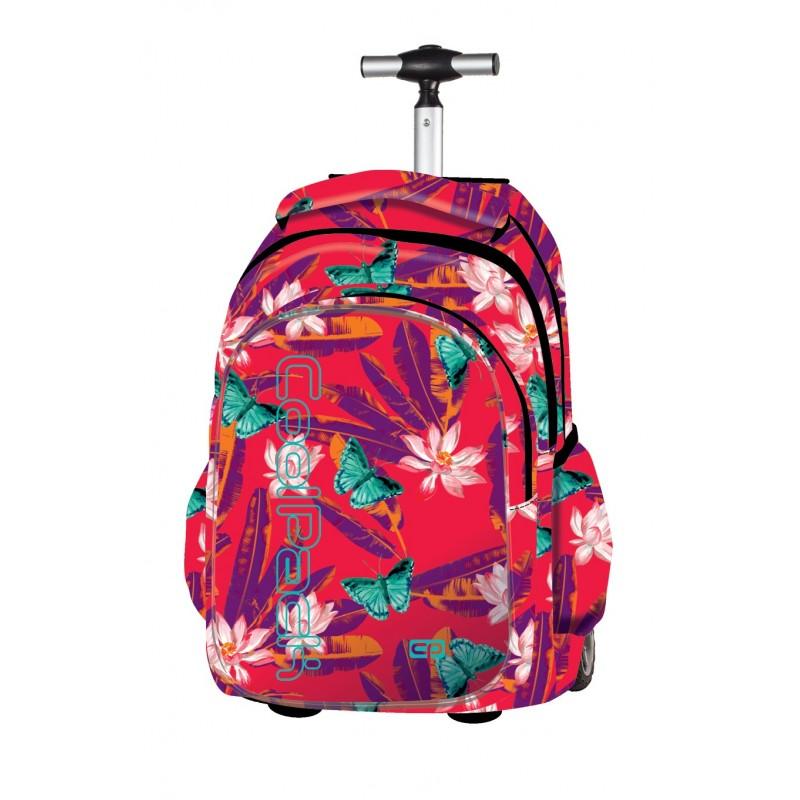 Plecak na kółkach CoolPack CP czerwony w egzotyczne kwiaty i motyle Junior BAHAMAS 604