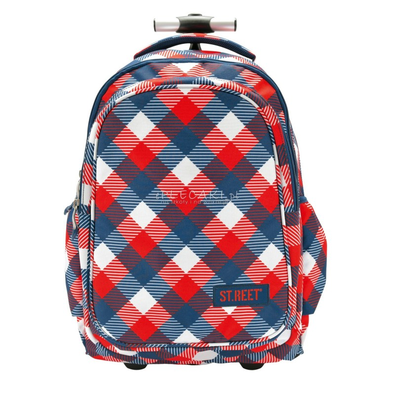 Plecak na kółkach ST.REET czerwono - niebieski w skośną kratkę CHEQUERED RED&NAVY