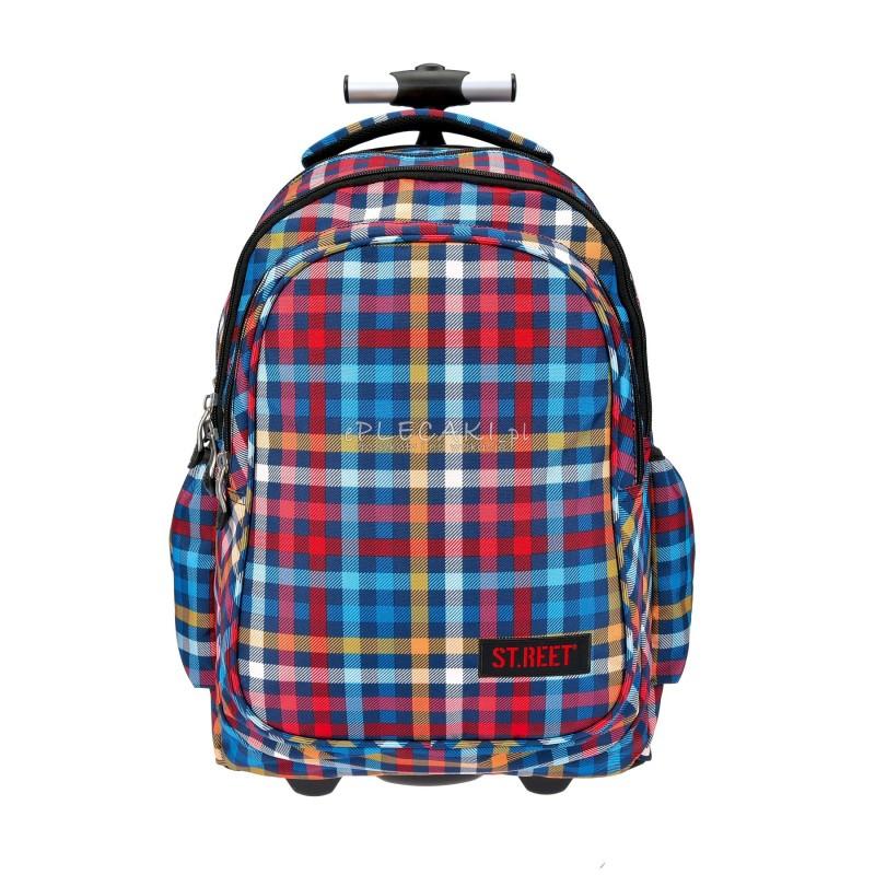 Plecak na kółkach ST.REET kolorowy w kratkę CHEQUERED RED&BLUE