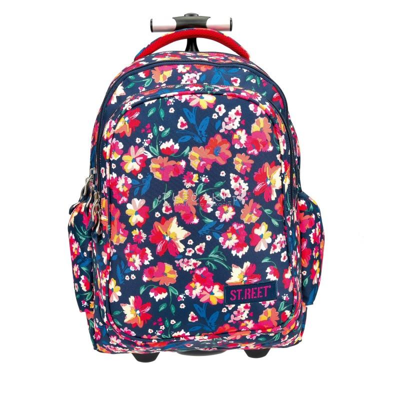 Plecak na kółkach ST.REET granatowy w kolorowe kwiaty FLOWERS CLARET