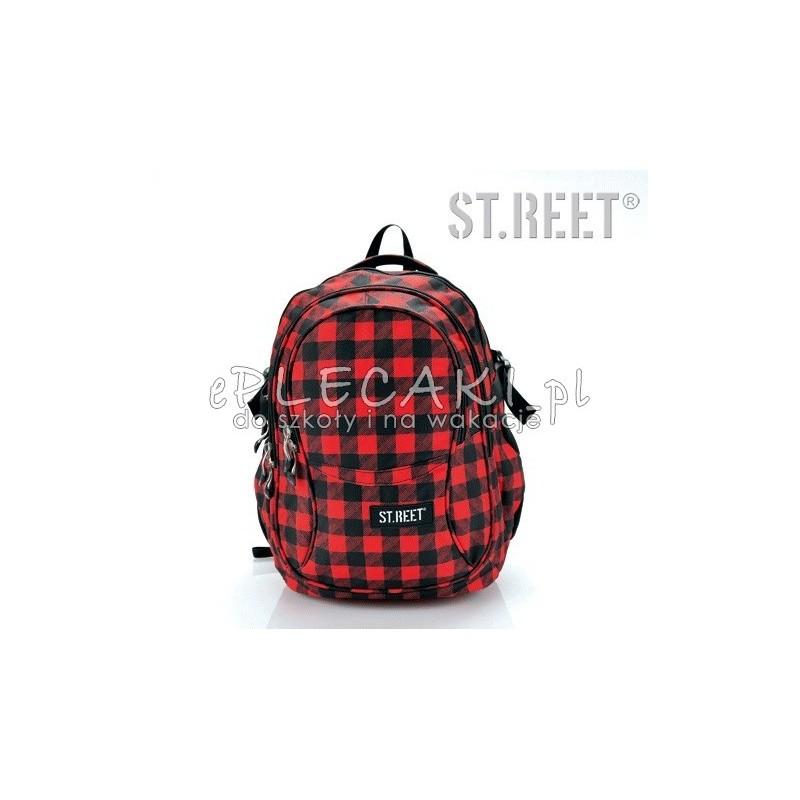 Plecak młodzieżowy 01 ST.REET czerwono-czarny w kratkę CHEQUERED BLACK&RED
