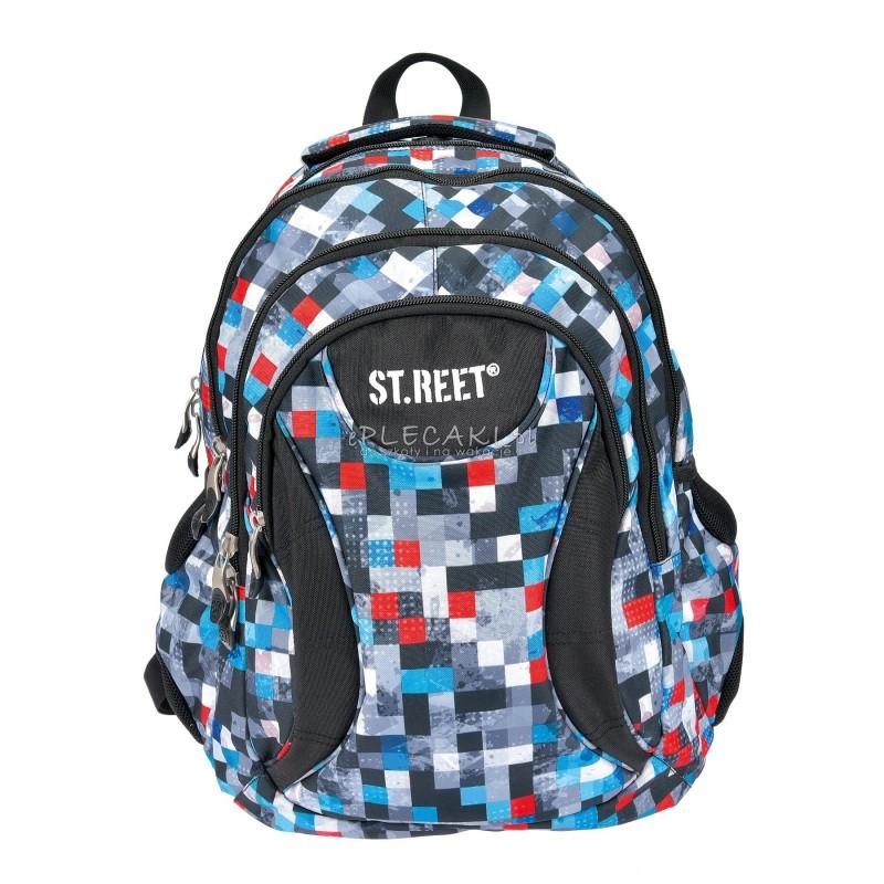 Plecak młodzieżowy 02 ST.REET szary w kwadraciki, w kratkę PIXELS