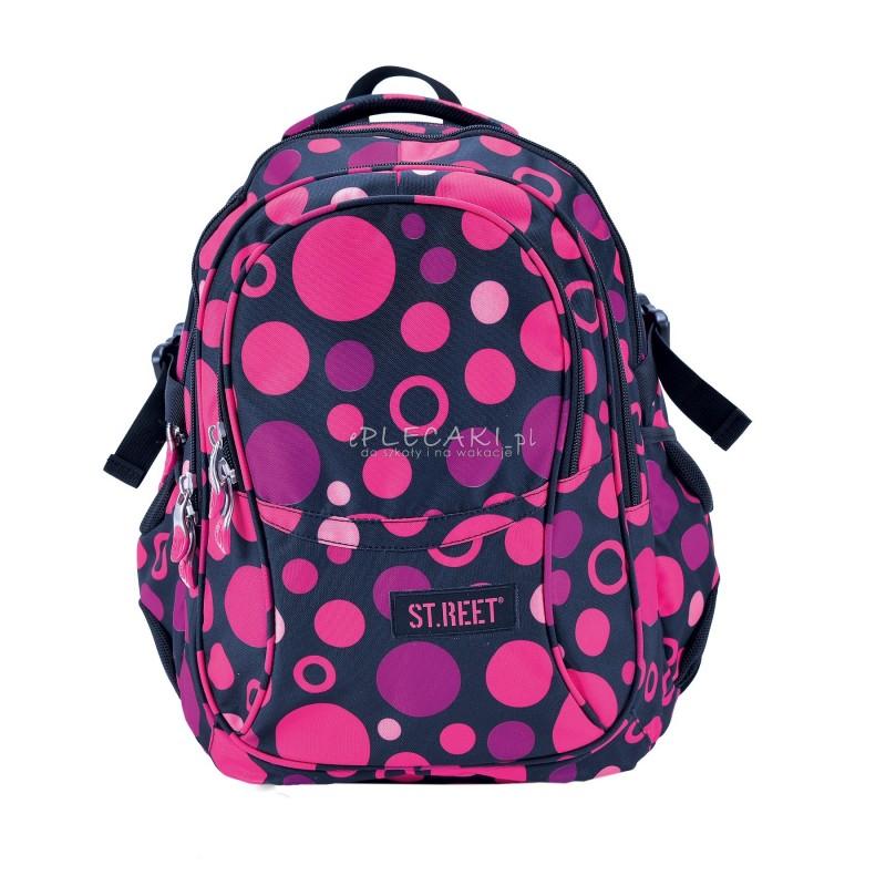 Plecak młodzieżowy 01 ST.REET czarny w różowe kropki DOTS BLACK&PINK