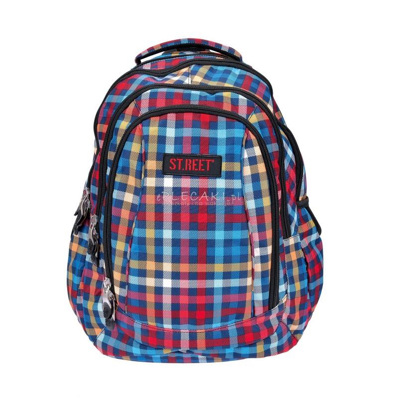 Plecak młodzieżowy 04 ST.REET kolorowy w kratkę CHEQUERED RED&BLUE