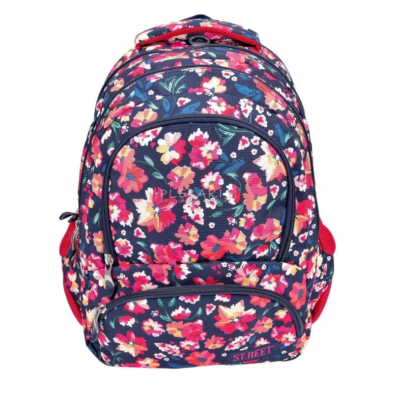 Plecak młodzieżowy 07 ST.REET granatowy w kwiaty FLOWERS CLARET