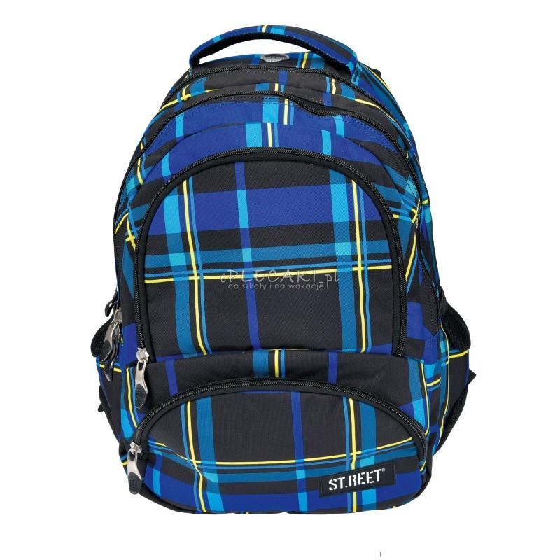 Plecak młodzieżowy 07 ST.REET czarno-niebieski w kratkę CHEQUERED BLACK&NAVY