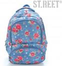 Plecak młodzieżowy 07 ST.REET niebieski w róże GARDEN