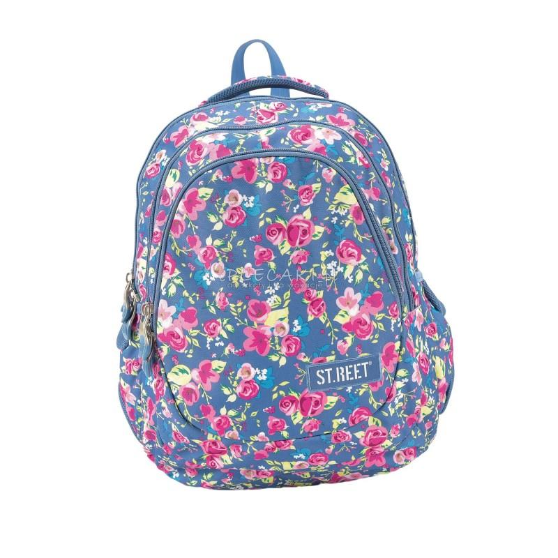 Plecak młodzieżowy 06 ST.REET niebieski w kwiatki FLOWERS NAVY BLUE