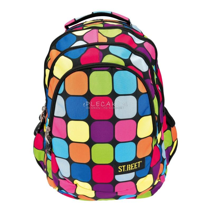 4514f561778bd Plecak szkolny 06 ST.REET Squares w kwadraty dla dziewczynki