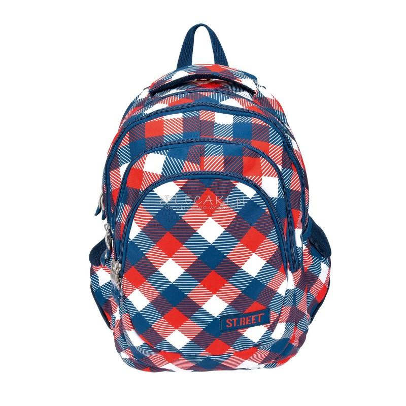 Plecak młodzieżowy 06 ST.REET czerwono - niebieski w kratkę CHEQUERED RED&NAVY