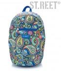 Plecak młodzieżowy na wycieczkę, miejski 09 ST.REET niebieski w indyjskie wzory CASHMERE