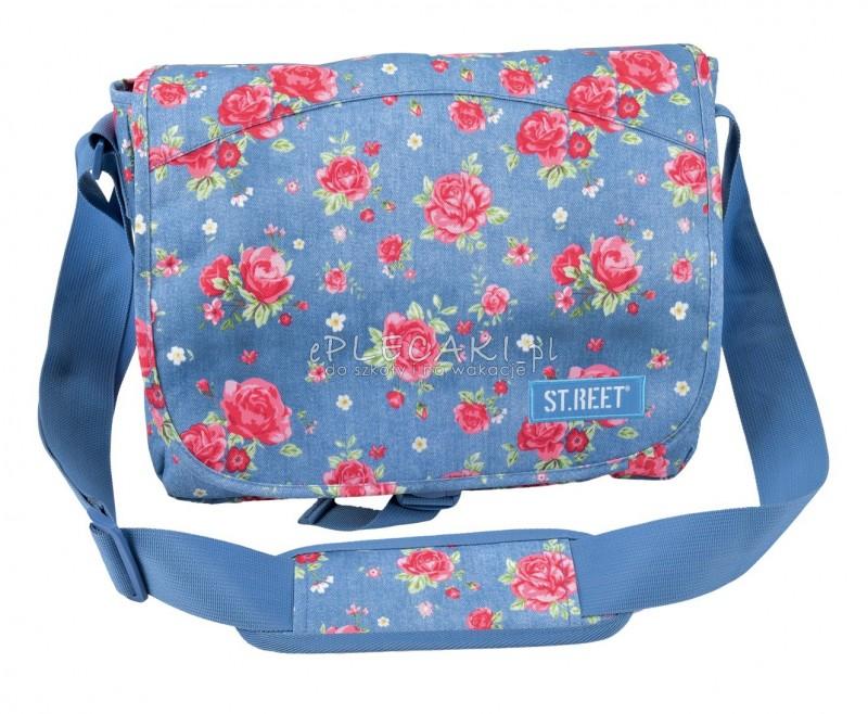 Torba na ramię / listonoszka 01 ST.REET niebieski w róże GARDEN