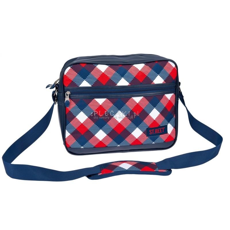 Torba na ramię / listonoszka 02 ST.REET czerwono - niebieski w kratkę CHEQUERED RED&NAVY